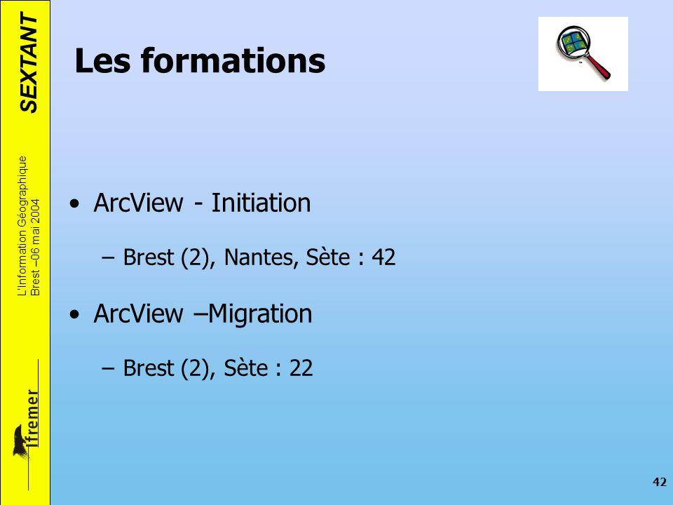 Les formations ArcView - Initiation ArcView –Migration