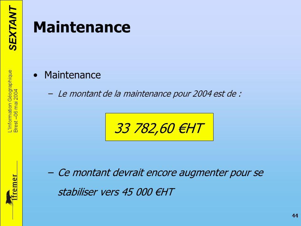 Maintenance 33 782,60 €HT Maintenance