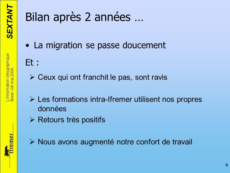 Bilan après 2 années … La migration se passe doucement Et :