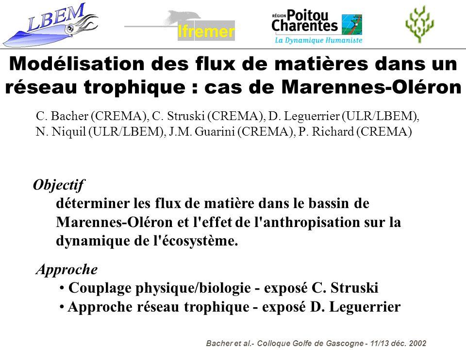 l f. r. e. m. Modélisation des flux de matières dans un réseau trophique : cas de Marennes-Oléron.