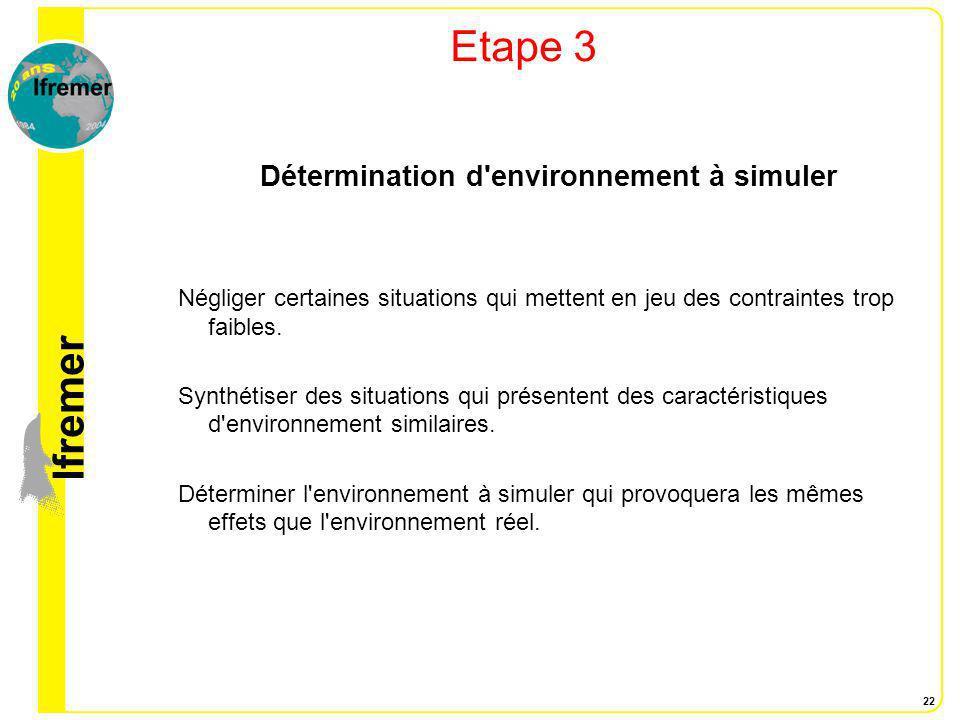 Détermination d environnement à simuler