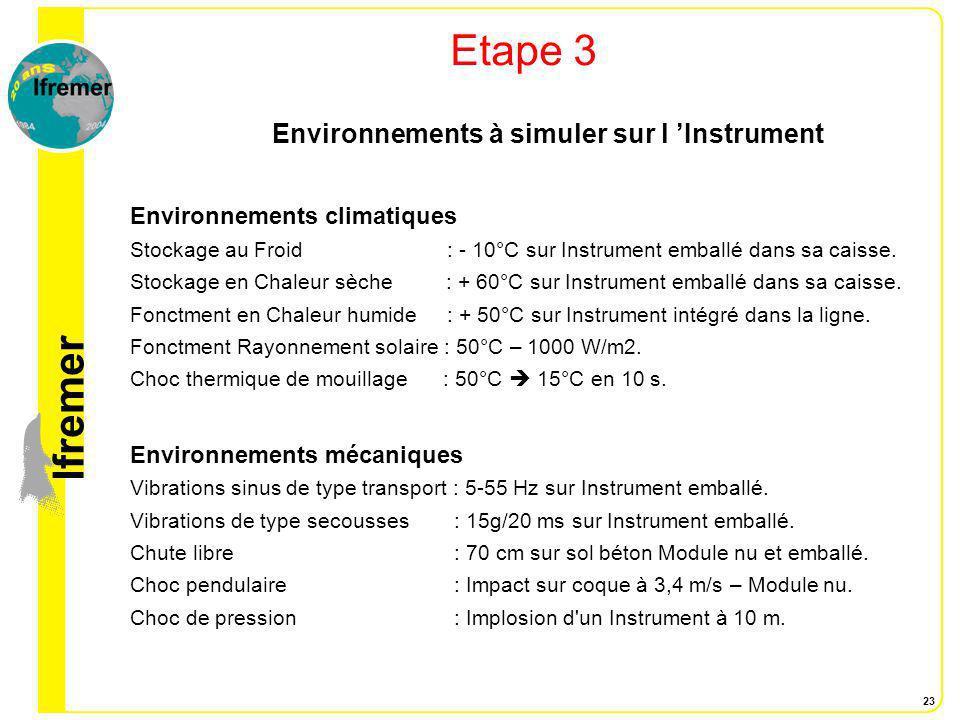 Environnements à simuler sur l 'Instrument