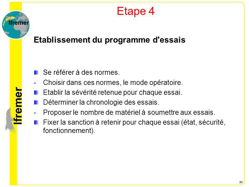 Etape 4 Etablissement du programme d essais Se référer à des normes.