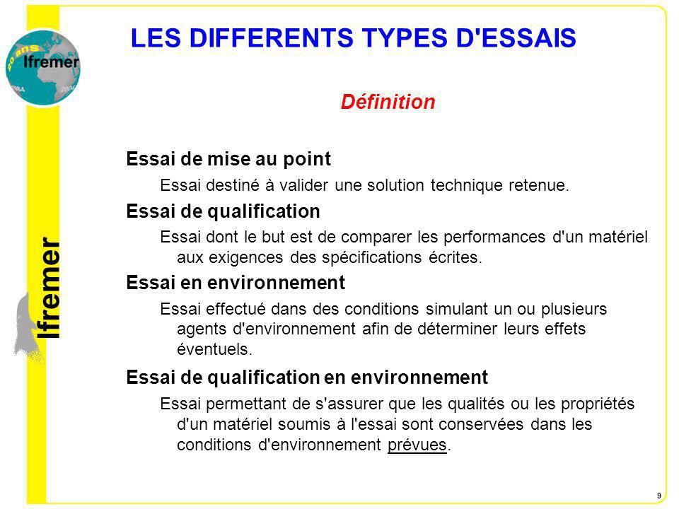 LES DIFFERENTS TYPES D ESSAIS