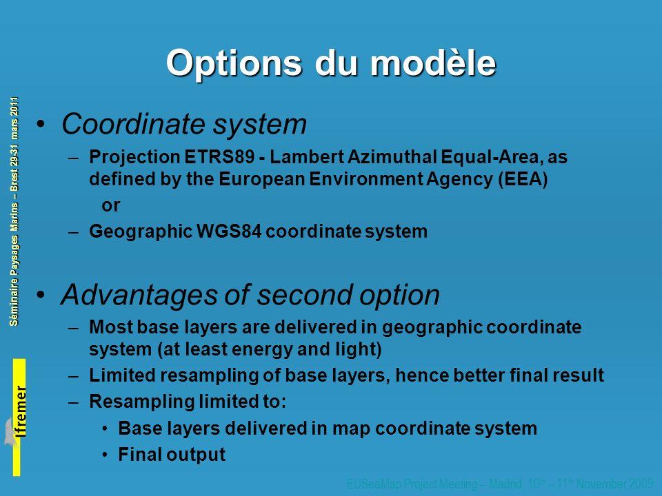 Options du modèle Coordinate system Advantages of second option