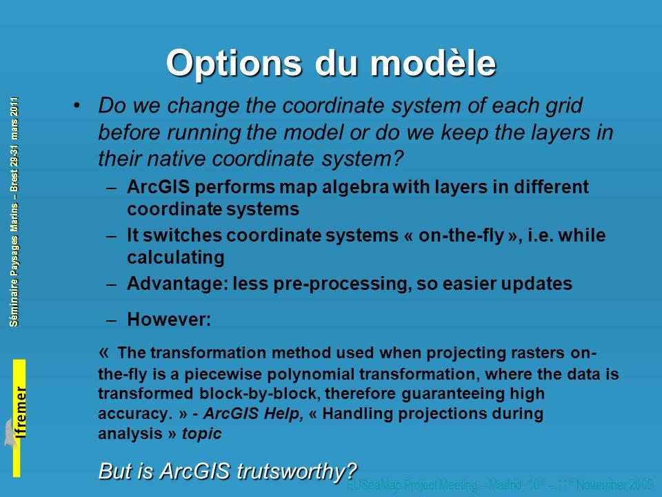 Options du modèle But is ArcGIS trutsworthy