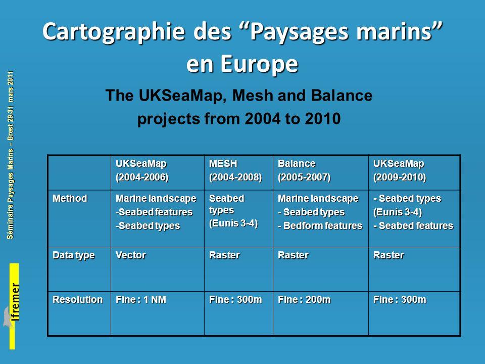 Cartographie des Paysages marins en Europe