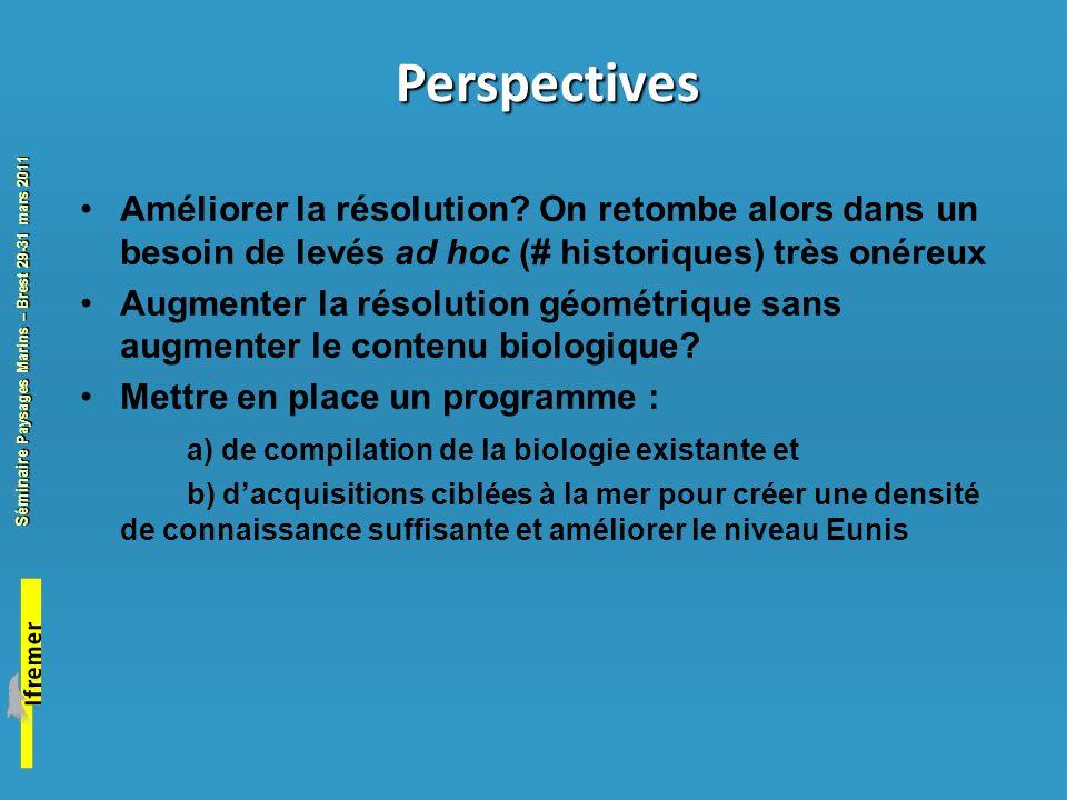 Perspectives Améliorer la résolution On retombe alors dans un besoin de levés ad hoc (# historiques) très onéreux.