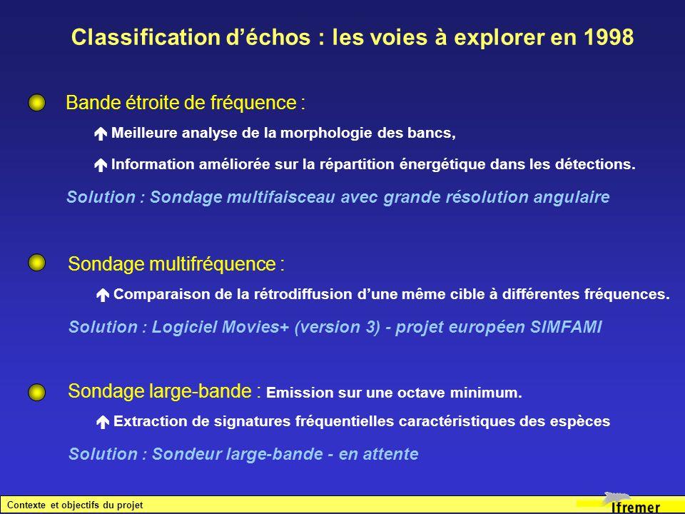 Classification d'échos : les voies à explorer en 1998
