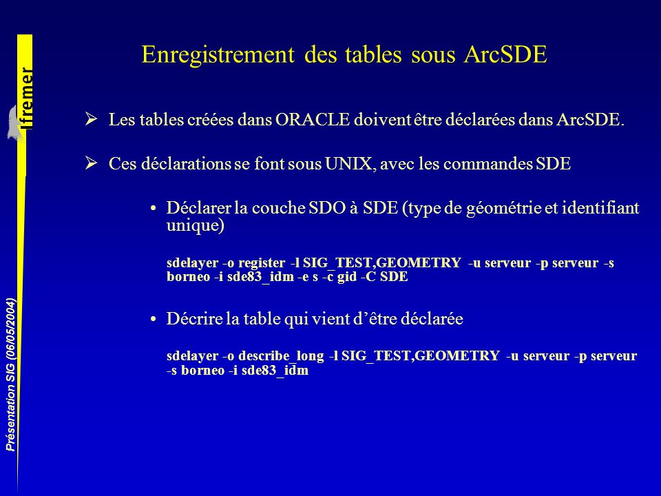 Enregistrement des tables sous ArcSDE