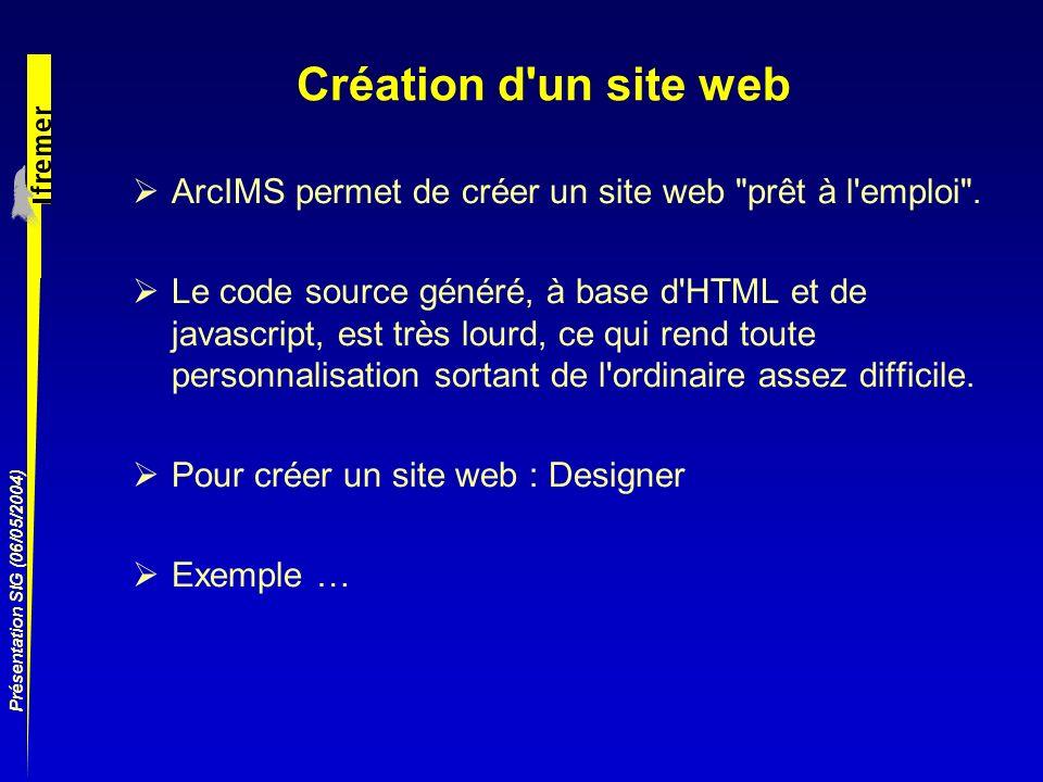 Création d un site webArcIMS permet de créer un site web prêt à l emploi .