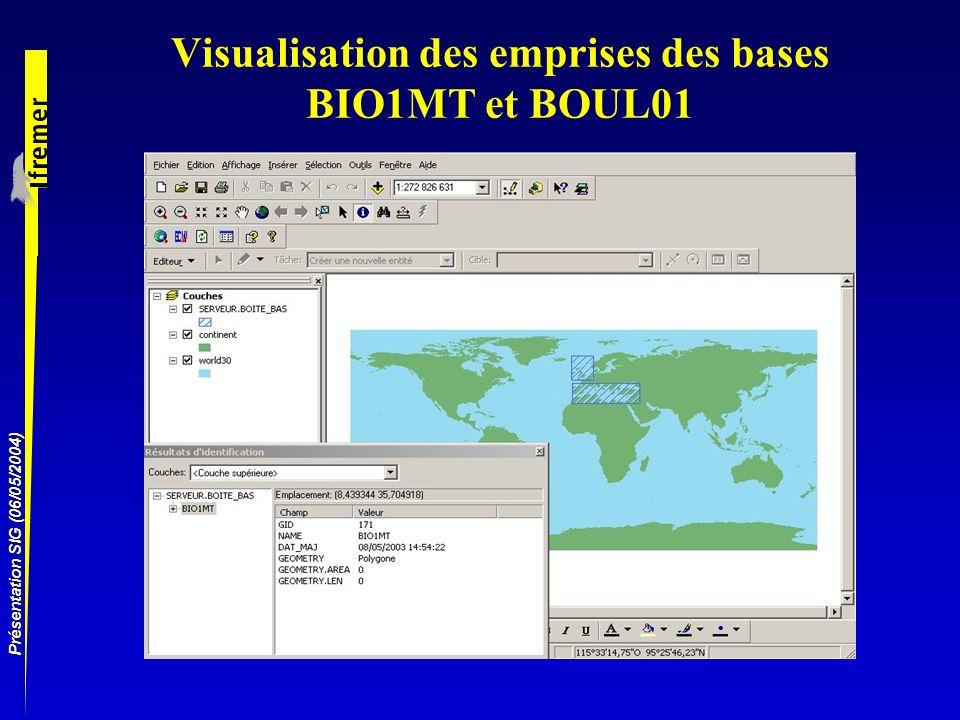 Visualisation des emprises des bases BIO1MT et BOUL01