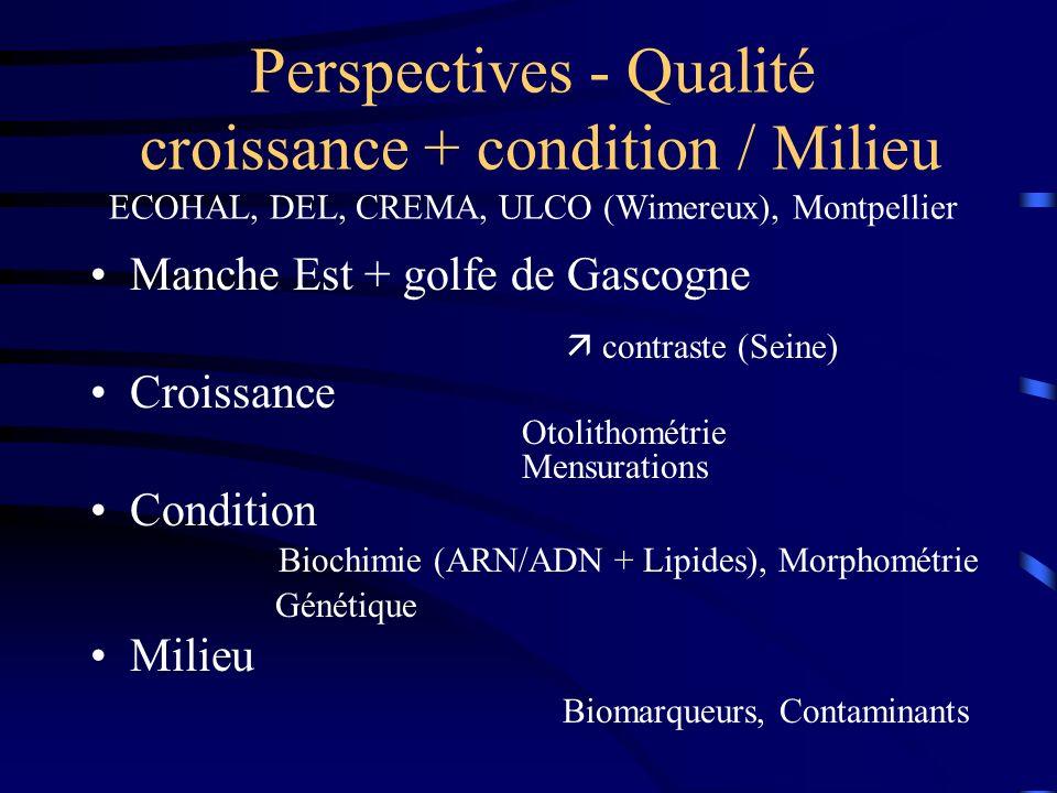 Perspectives - Qualité croissance + condition / Milieu ECOHAL, DEL, CREMA, ULCO (Wimereux), Montpellier