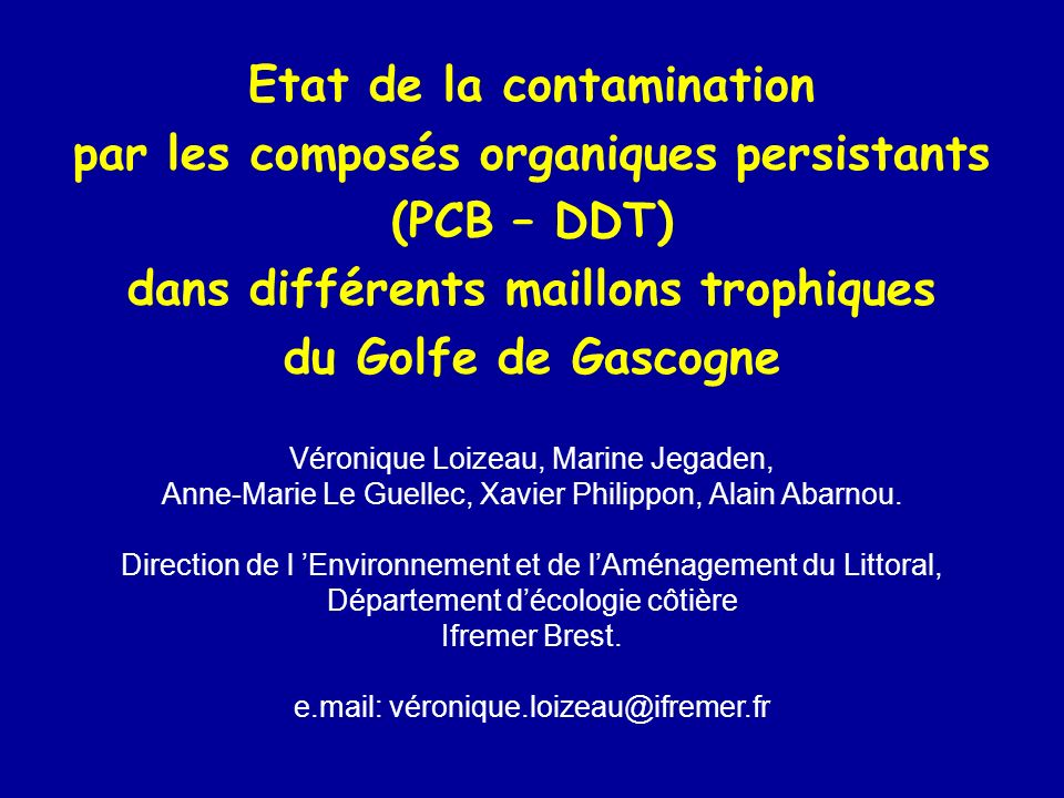 Etat de la contamination