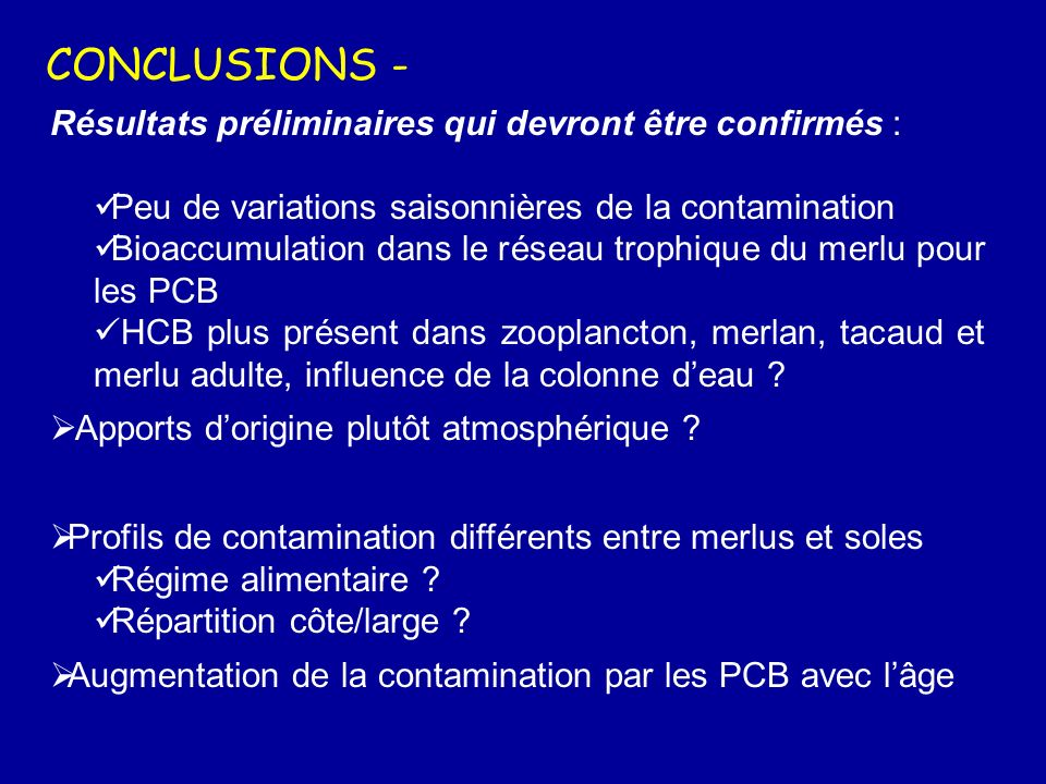CONCLUSIONS - Résultats préliminaires qui devront être confirmés :