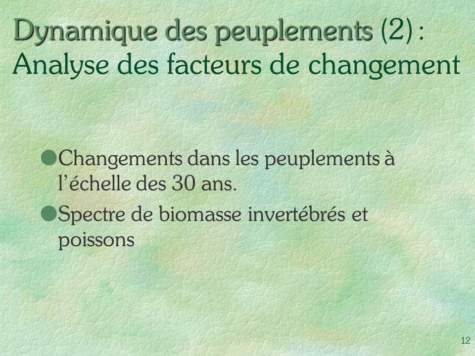 Dynamique des peuplements (2) : Analyse des facteurs de changement