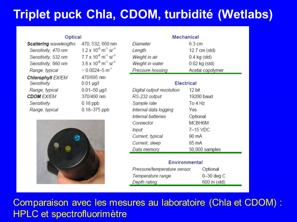 Triplet puck Chla, CDOM, turbidité (Wetlabs)