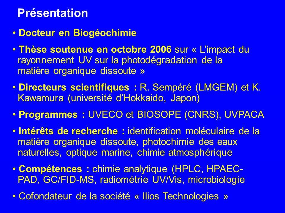 Présentation Docteur en Biogéochimie