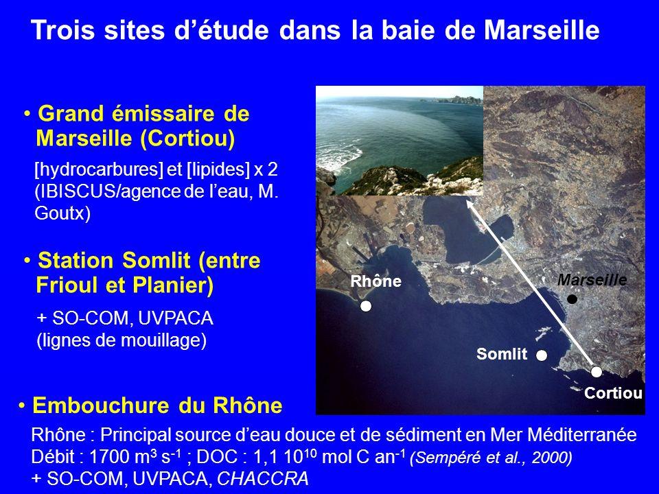 Trois sites d'étude dans la baie de Marseille