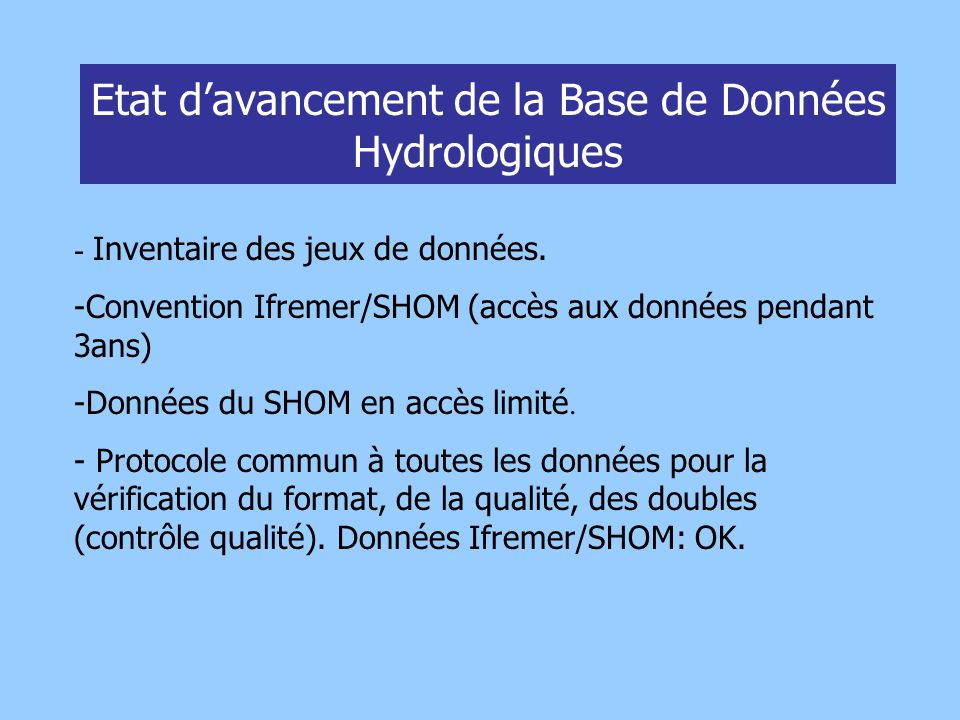 Etat d'avancement de la Base de Données Hydrologiques