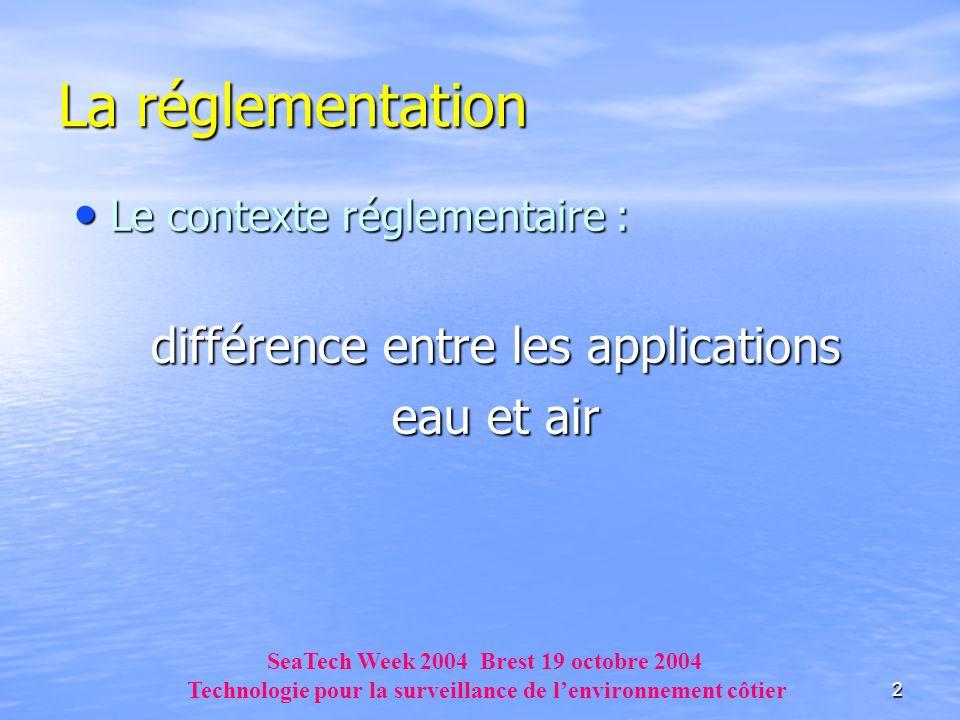 La réglementation différence entre les applications eau et air