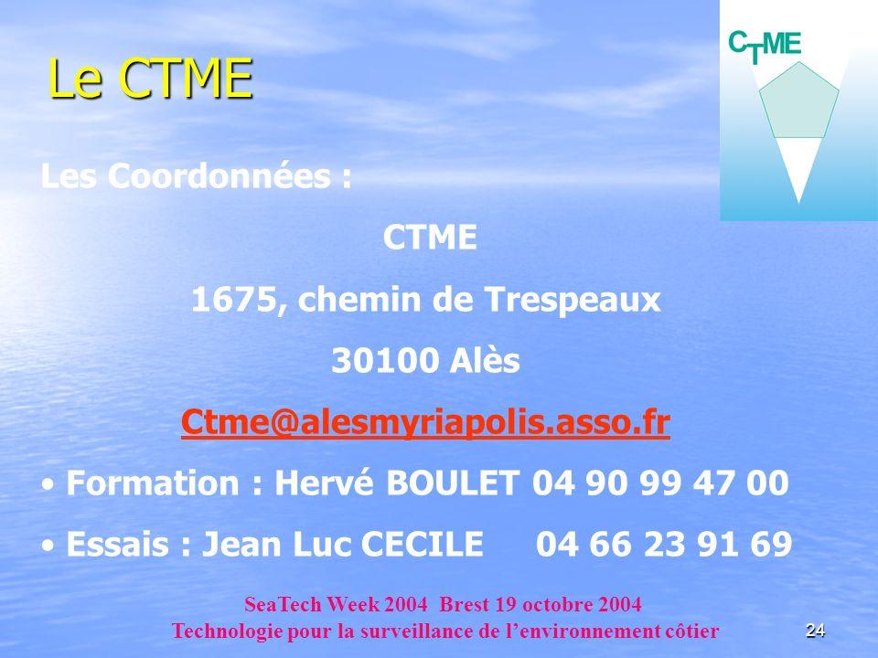 Le CTME Les Coordonnées : CTME 1675, chemin de Trespeaux 30100 Alès