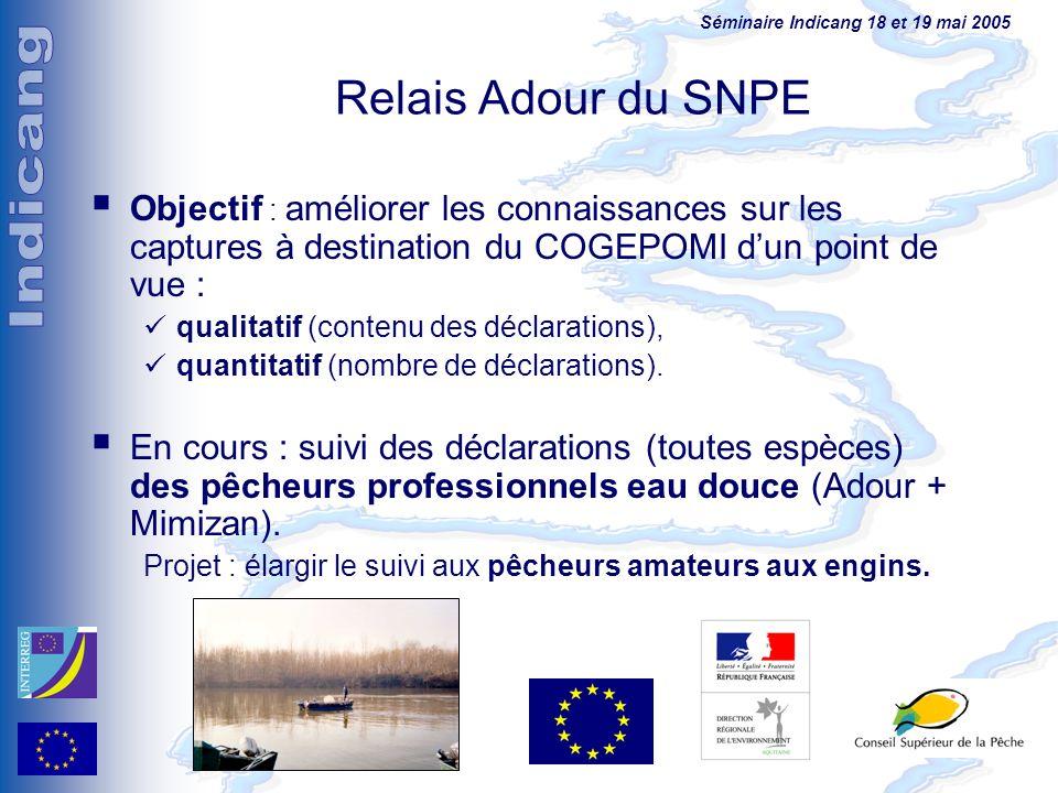 Relais Adour du SNPE Objectif : améliorer les connaissances sur les captures à destination du COGEPOMI d'un point de vue :