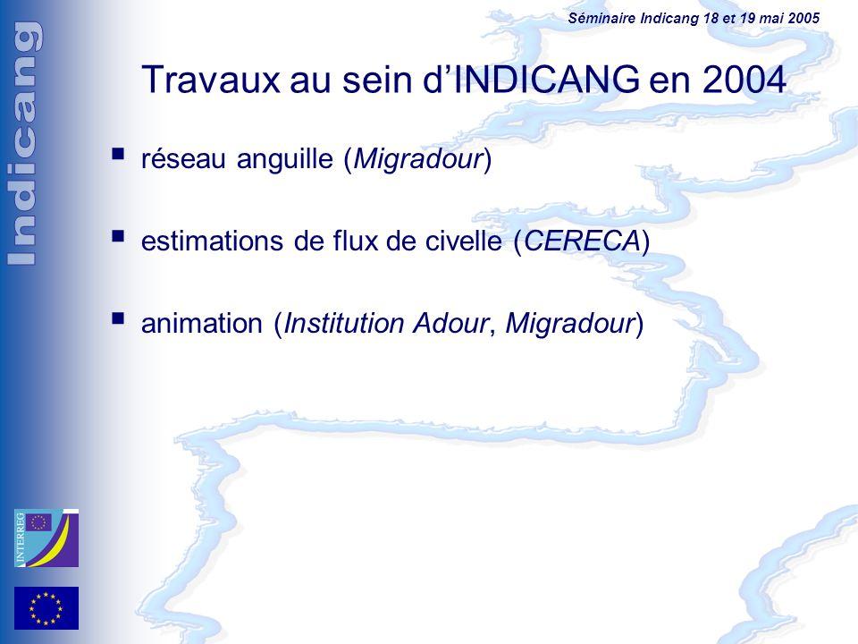 Travaux au sein d'INDICANG en 2004