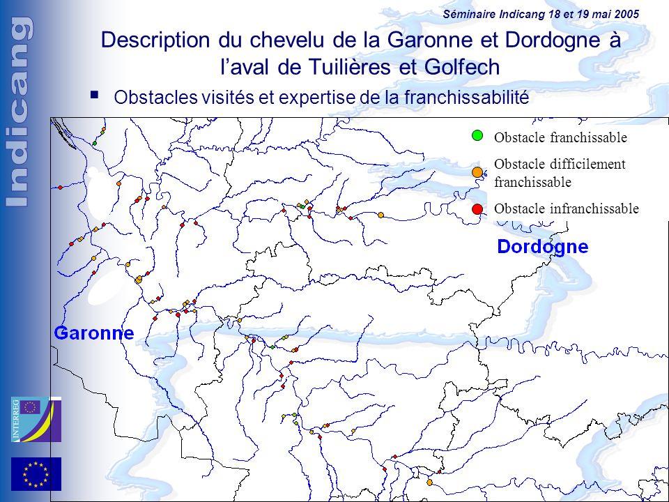 Description du chevelu de la Garonne et Dordogne à l'aval de Tuilières et Golfech
