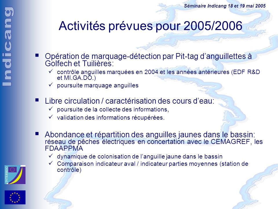 Activités prévues pour 2005/2006