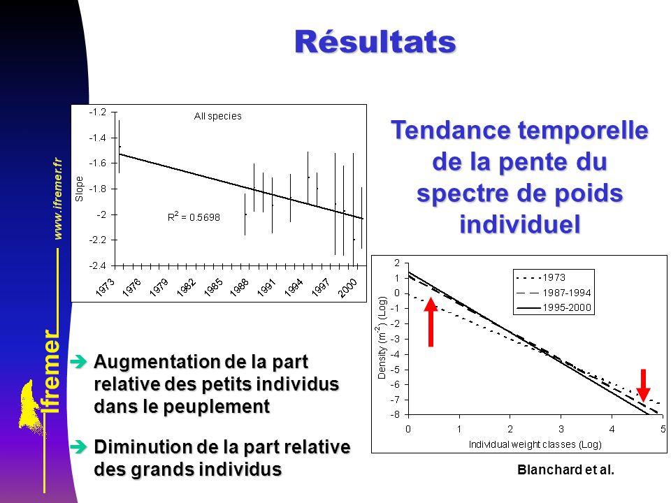 Tendance temporelle de la pente du spectre de poids individuel