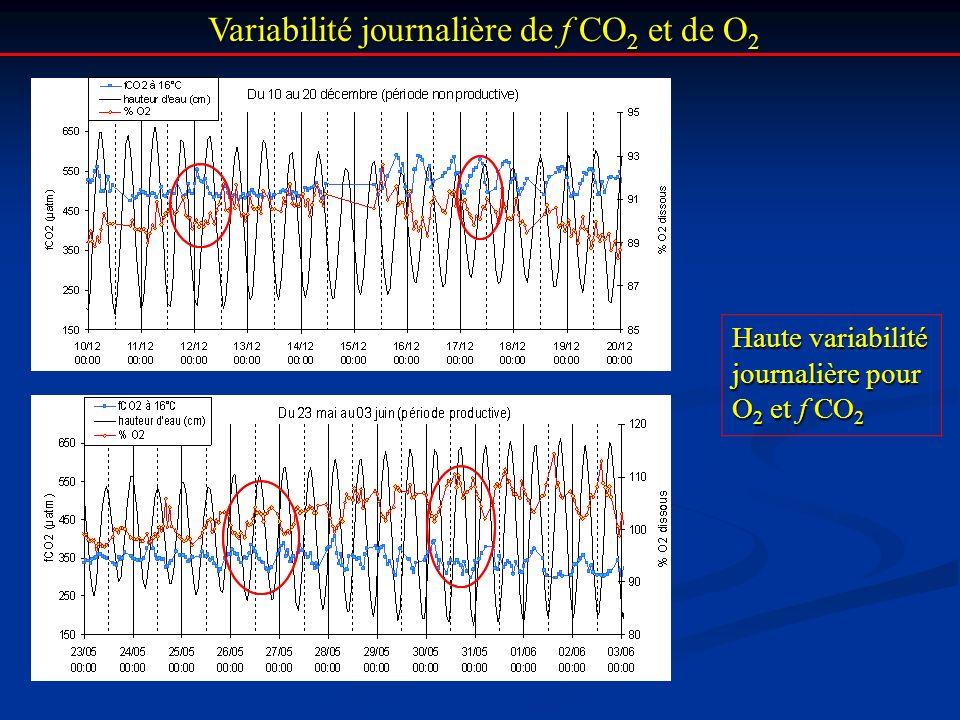 Variabilité journalière de f CO2 et de O2