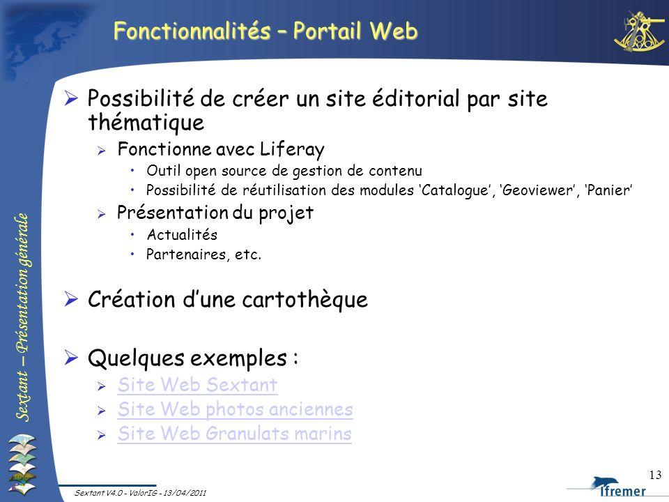 Fonctionnalités – Portail Web