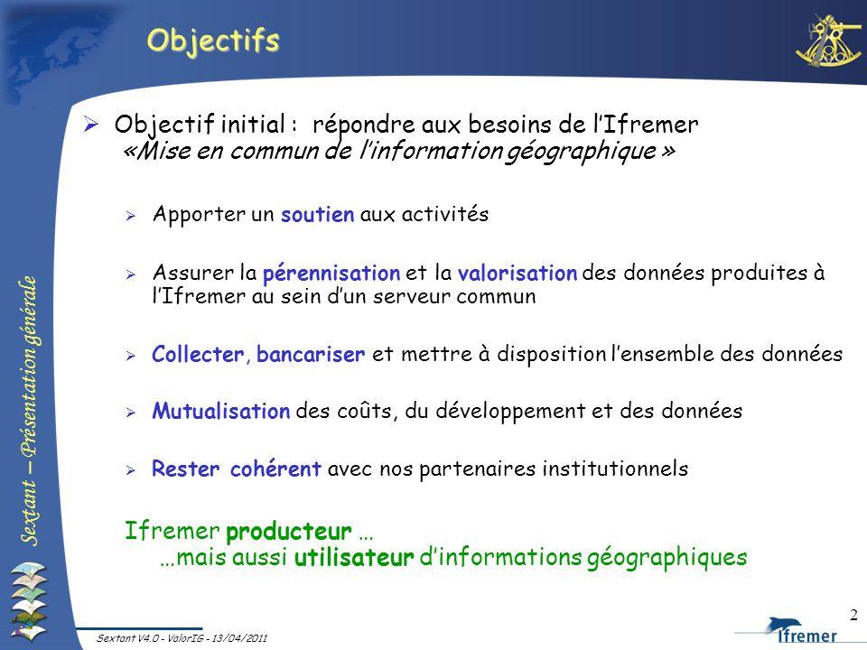 Objectifs Objectif initial : répondre aux besoins de l'Ifremer «Mise en commun de l'information géographique »
