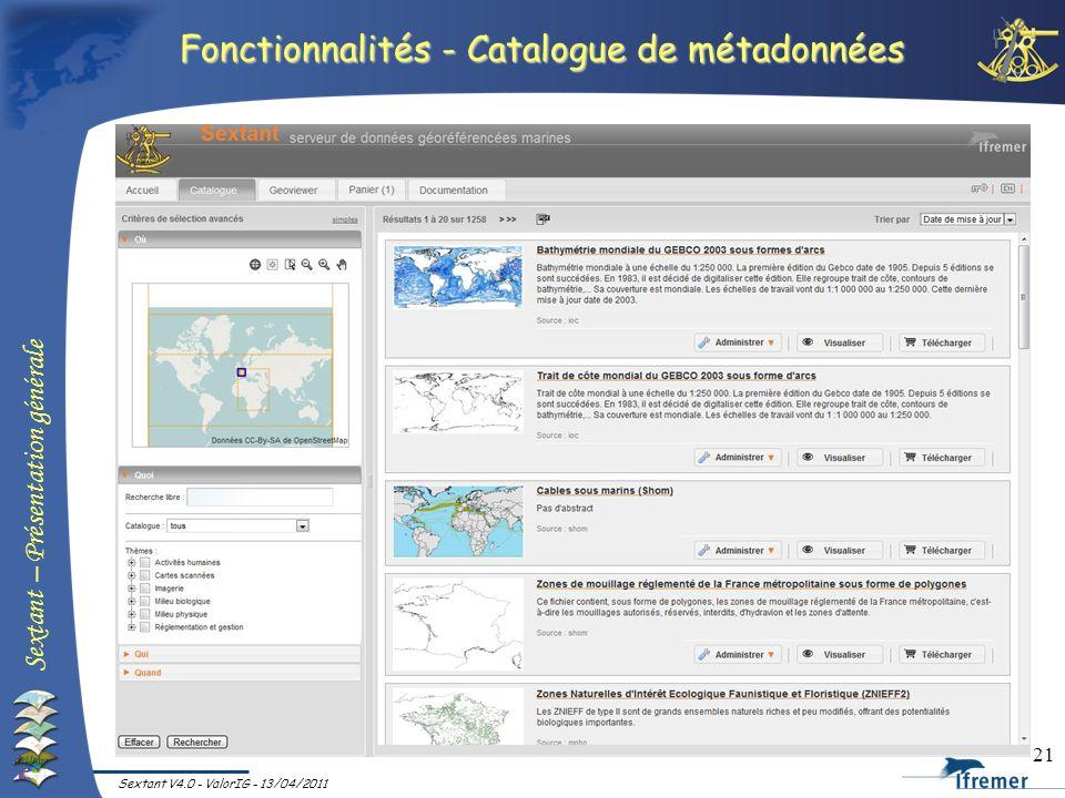 Fonctionnalités - Catalogue de métadonnées