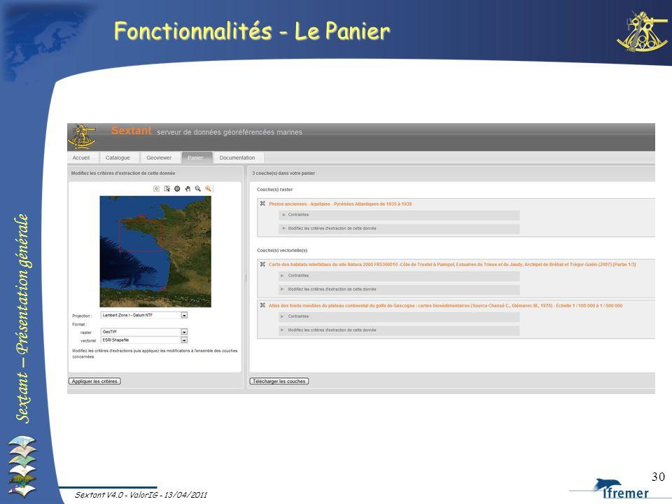 Fonctionnalités - Le Panier