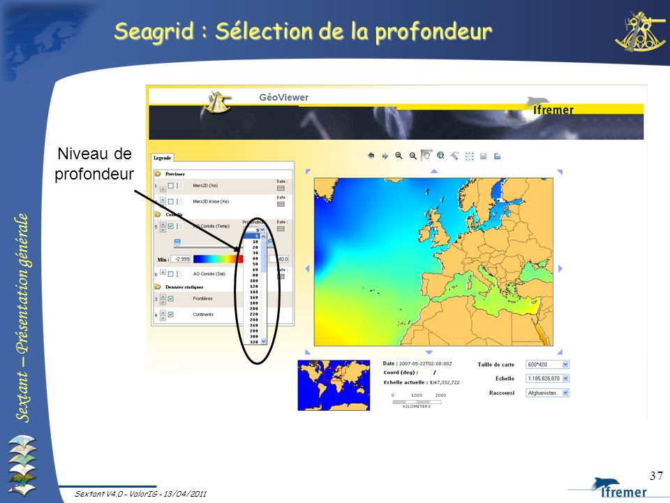 Seagrid : Sélection de la profondeur