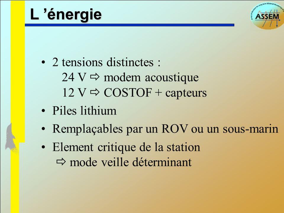 L 'énergie2 tensions distinctes : 24 V  modem acoustique 12 V  COSTOF + capteurs. Piles lithium.