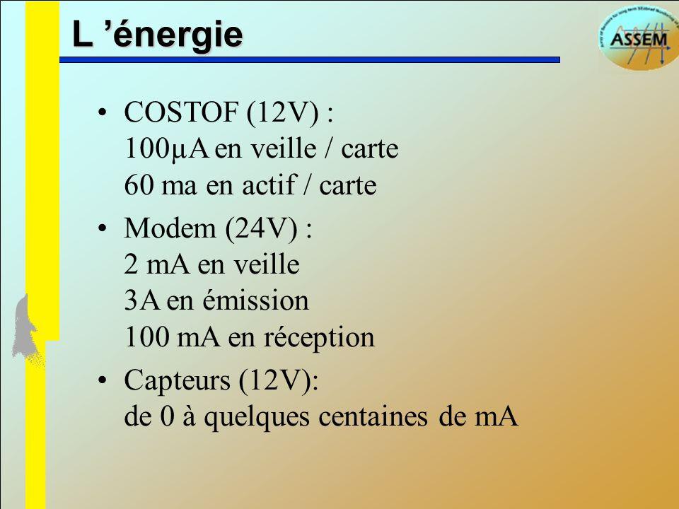 L 'énergieCOSTOF (12V) : 100µA en veille / carte 60 ma en actif / carte. Modem (24V) : 2 mA en veille 3A en émission 100 mA en réception.