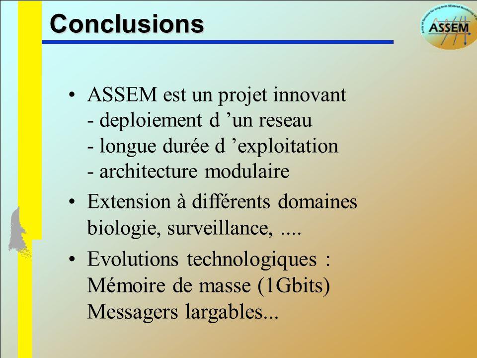 Conclusions ASSEM est un projet innovant - deploiement d 'un reseau - longue durée d 'exploitation - architecture modulaire.