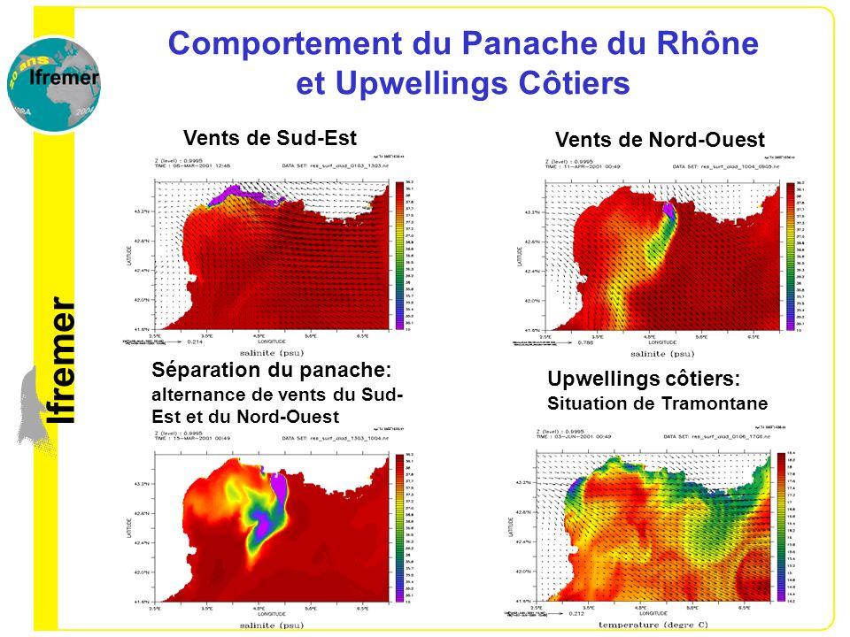 Comportement du Panache du Rhône et Upwellings Côtiers