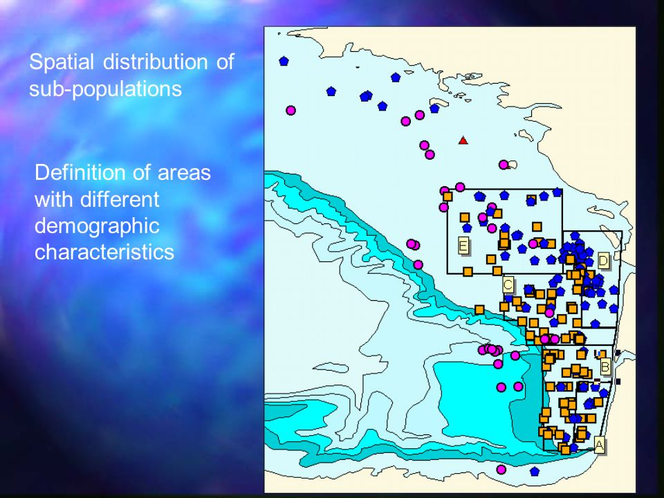 Spatial distribution of sub-populations