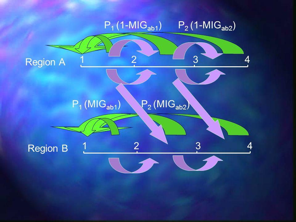 P1 (1-MIGab1) P2 (1-MIGab2) 1 2 3 4 Region A P1 (MIGab1) P2 (MIGab2) 1 2 3 4 Region B