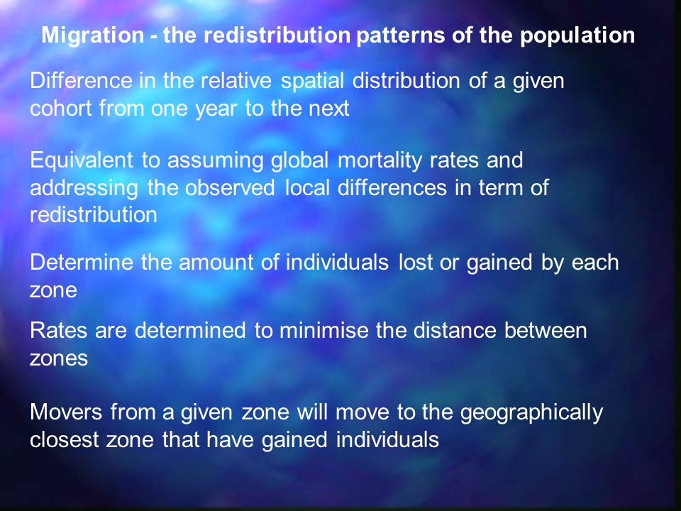 Migration - the redistribution patterns of the population