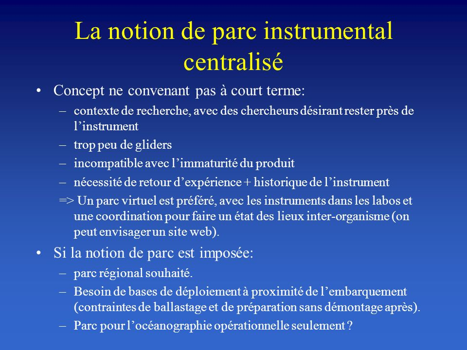 La notion de parc instrumental centralisé