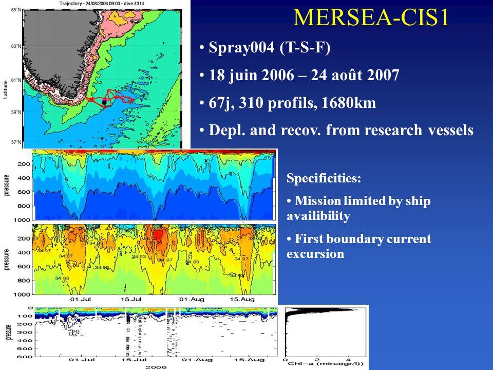 MERSEA-CIS1 Spray004 (T-S-F) 18 juin 2006 – 24 août 2007