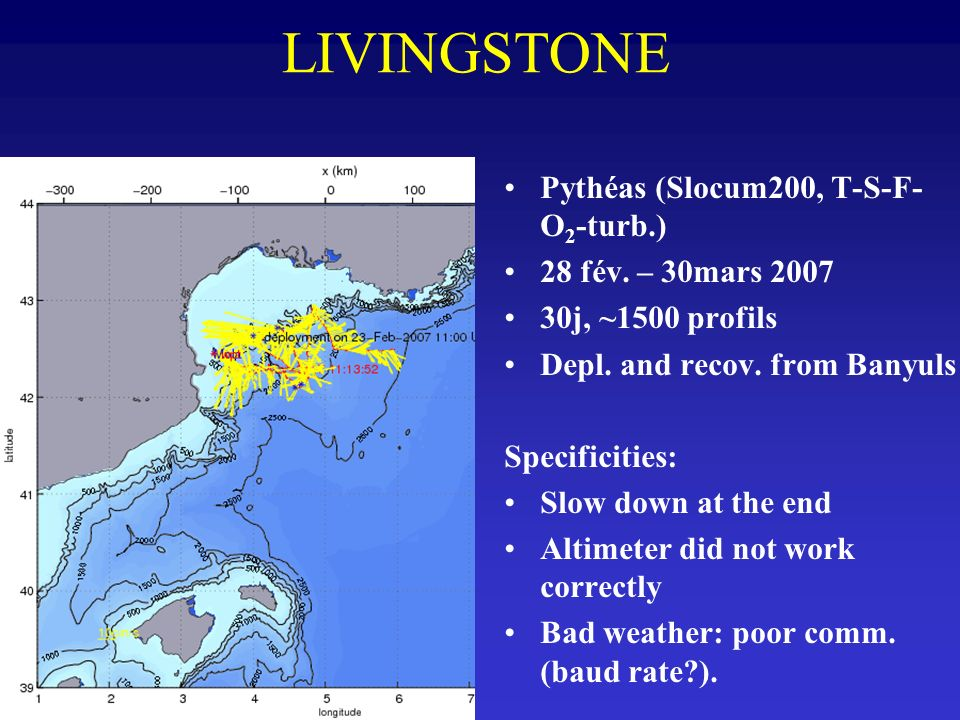LIVINGSTONE Pythéas (Slocum200, T-S-F-O2-turb.) 28 fév. – 30mars 2007