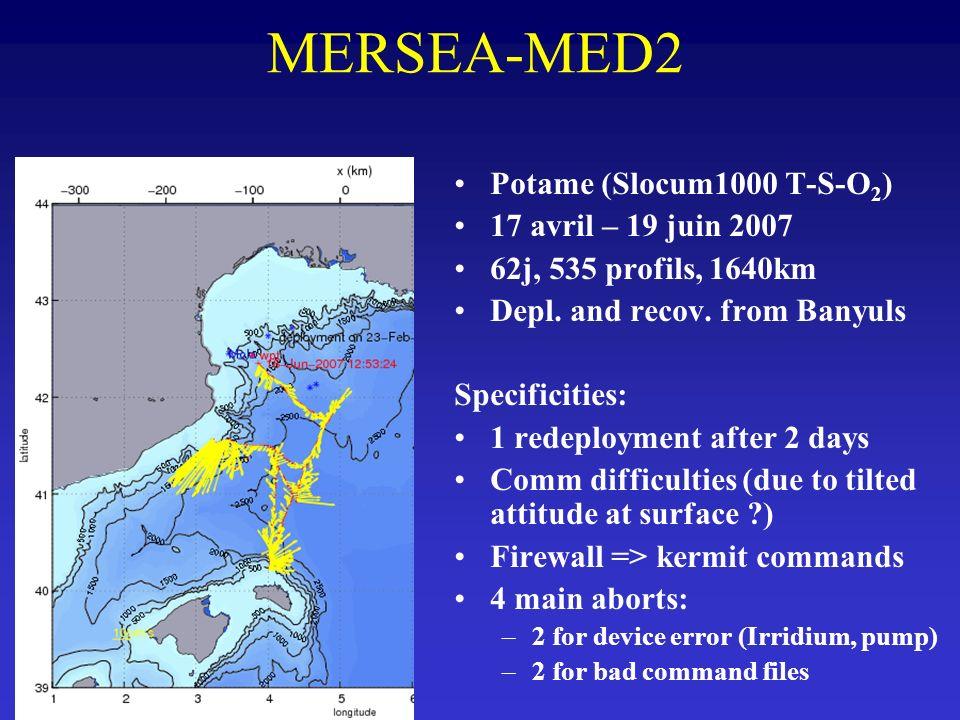 MERSEA-MED2 Potame (Slocum1000 T-S-O2) 17 avril – 19 juin 2007