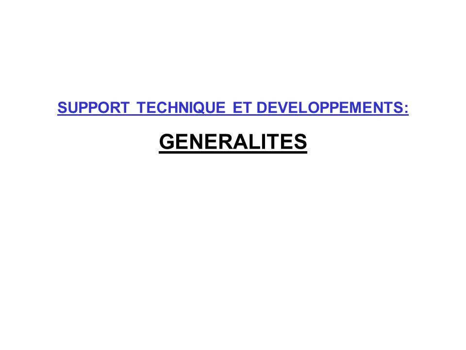 SUPPORT TECHNIQUE ET DEVELOPPEMENTS: