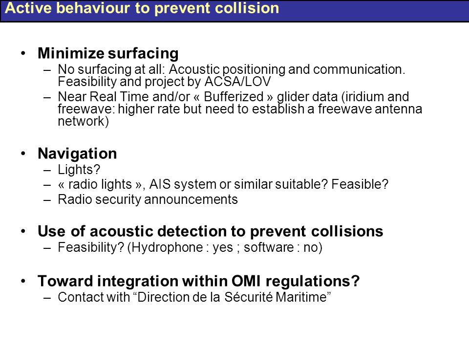 Active behaviour to prevent collision